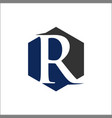 initial r hexagon shape logo vector image vector image