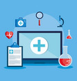 laptop with telemedicine icons vector image vector image