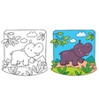 Little hippo coloring book vector image vector image