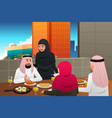 muslim family eating at home vector image vector image