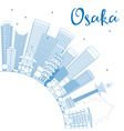 Outline Osaka Skyline with Blue Buildings vector image vector image