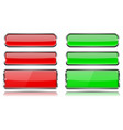 red and green glass buttons with metal frame set vector image vector image