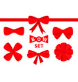 red ribbon christmas bow big icon set decoration vector image