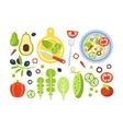 Salad Preparation Set Of Ingredients vector image vector image