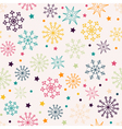 Seamless pattern with multicolored snowflakes vector image vector image