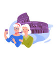 senior friends taking selfie near coliseum vector image vector image