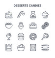 set 16 desserts candies concept line icons vector image vector image