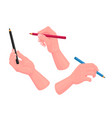 set human hands with colorful pencils isolated vector image