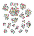 set of hand drawn polygon triangles pastel vector image