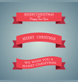 set of three red christmas ribbons on gradient vector image