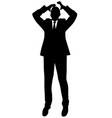 silhouette of a business man in a suit standing vector image vector image