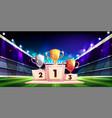 sport cup trophies on pedestal cartoon vector image