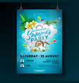 summer party flyer design with flower palm vector image vector image