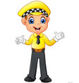 taxi driver cartoon waving hand vector image vector image
