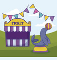tent sale ticket with seal and garlands vector image vector image