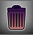 trash sign violet gradient vector image