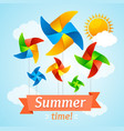 wind mill hello summer concept card vector image vector image