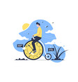 young handsome man rides time bike on nature vector image vector image
