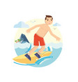 young surfer boy riding his surfboard on the waves vector image