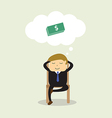 Businessman sitting on chair and thinking about do vector image