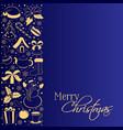 christmas card with vertical border of winter vector image