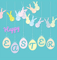 rabbits bunting flag and eggs hanging vector image