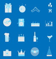 Party and celebration color icons set vector image