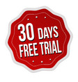 30 days free trial label or sticker vector image vector image