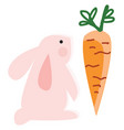 a pink rabbit looking at big orange carrot vector image vector image