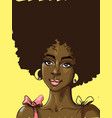 black beautiful woman with big curly hair pink vector image