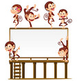 blank board with monkeys on it vector image vector image