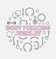 body piercing jewelry modern outline vector image