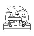 caravan car vehicle between mountains landscape vector image