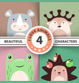 cartoon animal set - rhino deer frog hedgehog vector image