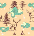 christmas in forest seamless pattern deers vector image