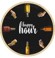 Coaster for alcohol drinks with bottle and hand vector image vector image