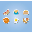 color icon set with fast food vector image