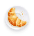croissant on plate vector image vector image