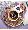Cup of coffee and hand drawn ice cream theme vector image