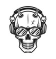 devil skull head with horns in headphones vector image vector image
