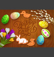 easter poster with painted eggs flowers vector image
