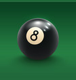 eight pool ball on green billiard table 3d poster vector image vector image