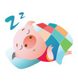 emoji character a pig sleeping under a blanket vector image