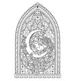 fantasy gothic stained glass window with fabulous