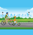 father and son cycling at park vector image