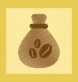 flat shading style icon coffee bag vector image vector image