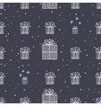 gift and snowflake christmas seamless pattern dark vector image vector image