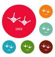 goose step icons circle set vector image vector image