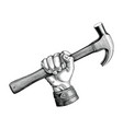 hand holding hammer vintage clip art for vector image