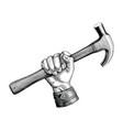 hand holding hammer vintage clip art vector image vector image